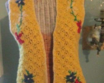 60s 70s Crochet Vest / Yellow Red Blue Flowers Open Vest / Boho Vintage Vest Small