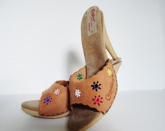 VINTAGE  CANDIES SHOES High Heel1970s Size 7 Leather Candies Stilettos Sandals|Candies El Greco Natural Muti Sandal|Sexy Candies Mules