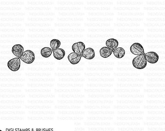 SHAMROCKS - Digital Stamp and Brush - INSTANT DOWNLOAD - for Cards, Scrapbooking, Journaling, Collage, Crafts, Invites and More
