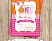 Pumpkin Patch One First Birthday girl orange pink green  PRINTABLE Invitation #8 chevron polka dot  1st birthday halloween fall  1051