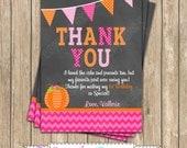 Pumpkin Patch One First Birthday girl orange pink green  PRINTABLE Thank You Card  #1 chevron polka dot  1st birthday halloween fall -1051