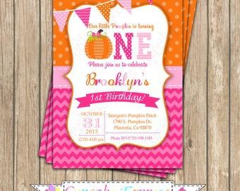 Pumpkin Patch One First Birthday girl orange pink green  PRINTABLE Invitation #8 chevron polka dot  1st birthday halloween fall  1051