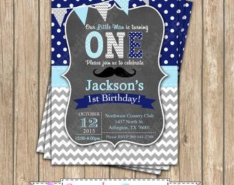 Little Man Mustache One First Birthday BOY grey navy blue PRINTABLE chalkboard Invitation #2  chevron polka dot 1st birthday diy