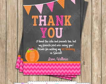 Pumpkin Patch One First Birthday girl orange pink green  PRINTABLE Thank You Card  #1 chevron polka dot  1st birthday halloween fall -1051