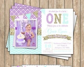 One First Birthday mint  girl Lavender gold mint   PRINTABLE chalkboard Invitation #4  chevron polka dot - 1034
