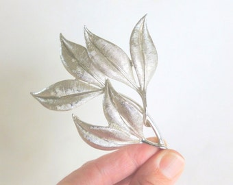 Silver Leaves Brooch Pin by Emmons Large Size Silvertone Brushed Etched Ridged Botanical Branch Costume Jewelry