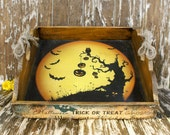 Trick-or-Treat Spooktacular Halloween Wooden Serving Tray Halloween  Home Decor Rustic Home Decor Halloween spooky Tray,Halloween gift