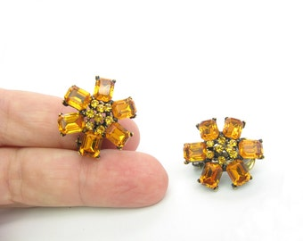 Golden Topaz Rhinestone Earrings. Flower Jewelry. Octagonal Cut. Clip Ons. Vintage 1960's Fashion Jewelry Gift for Her