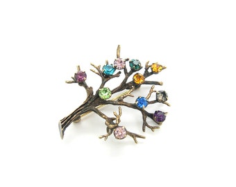 Tree of Life Brooch. Rhinestones, Sterling Silver, Gold Wash. 1960's Vintage Rainbow Family Tree Pin. Birth Month Jewelry.