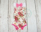 baby romper for girls, bubble romper, shabby chic romper, baby playsuit, floral romper, baby rompers, baby girl clothes, pink romper outift