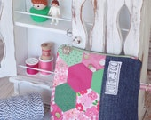 Eco friendly cosmetic or pencil case, hexagons patchwork, zipper pouch hexies pink  flower green denim, folk, upcycled recycled polka dots