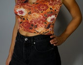 Vintage Crop Top XS S M Psychedelic Floral Boho Hippie Gypsy Club Kid Grunge 90s Bohemian Hipster Festival Keyhole Tank Disco Geisha Mod Top
