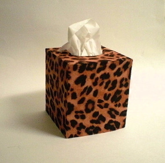 Decorated Tissue Box: ANIMAL PRINT Tissue Box Cover Decorative By LaurieBCreations