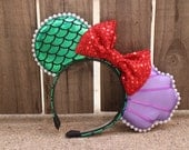 The Little Mermaid Ariel-Inspired Mouse Ear Headband with Bow