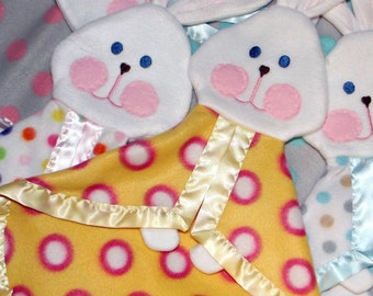 Polka Dot Replica Fisher Price Bunny Baby Blanket, Puppet, Photo Prop