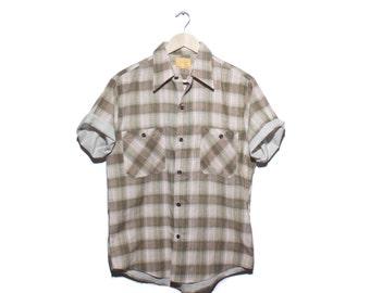 Med | Vintage Sears Perma Prest Brown Orange Green Brown Plaid Short Sleeve Button Up