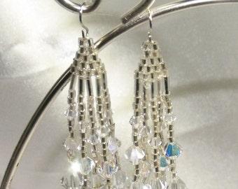 Swarovski AB Clear Crystal Dangling Earrings