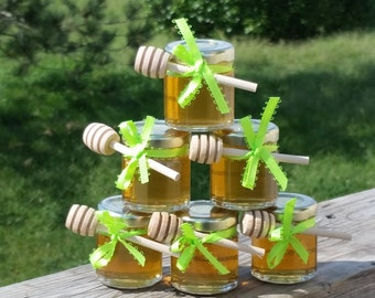 Honey Favors, Party Favors, Lime Green Ribbon,  20 Jars