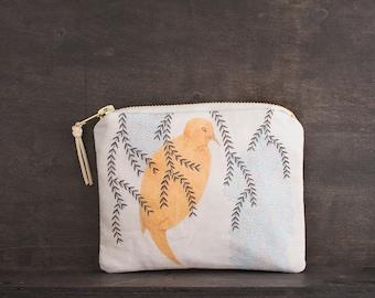 Woodland Bird Bag. Small Makeup Bag. Zipper Pouch. Animal Print. Fabric Design. Coin Purse Wallet. Animal Bag. Pencil Case. Makeup Storage.
