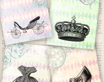 Cinderella Themed Cards 3.5 x 5 inch printable crown carriage dress glass slipper instant download digital collage sheet - VDCAFA1119