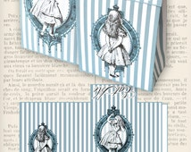 Alice in Wonderland Favor Bag tea party eat me blue paper crafting diy hobby instant download digital collage sheet - VDFBAL1131