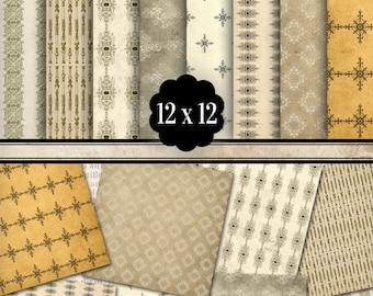 Vintage Pattern Papers 12 x 12 inch paper pack scrapbooking crafting hobby digital paper printable digital collage sheet - VDPAVI1108