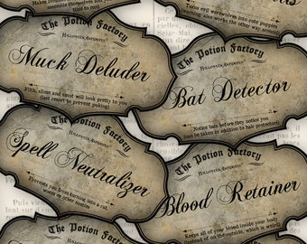 Halloween Antidote Labels Halloween Apothecary Jar Bottle Paper Crafting DIY party decor instant download digital collage sheet - VDLAHA0911