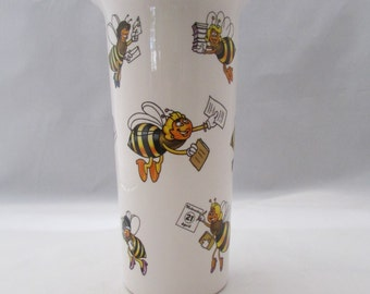 Collectible Teleflora Flower Arrangement Vase Busy Bees Office Worker - MINT