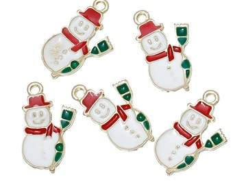 "5 SNOWMAN Christmas Charms or Pendants . Gold Plated with enamel, 5/8"", chg0303"