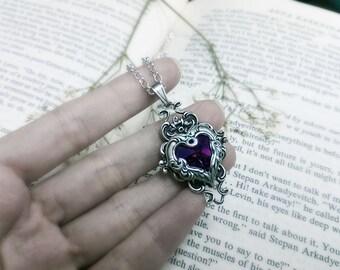 Valkyrie's Heart Swarovski Crystal Silver Bridal Bridesmaid Pendant - Amethyst