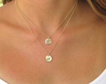 Silver Double Initial Disc Necklace