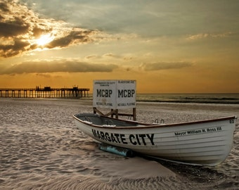 Margate Sunrise, New Jersey Shore, Landscape Photograph, Beach, Margate Boat, Ocean, Fishing Pier, Morning, Gold, Orange, Summer, Print