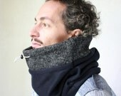 Gift for him, Thick cashmere blend cowl scarf, mens scarf, gift for men, Snock®, mens wool scarf in two-tone extra warm wool