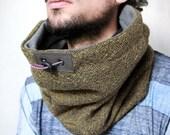 Tweed snood, tweed cowl scarf, gift for him, gift for boyfriend, hooded cowl mens Snock® in mustard herringbone wool