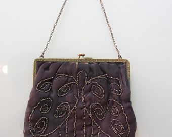 Vintage 1920 Navy Silk Beaded Purse