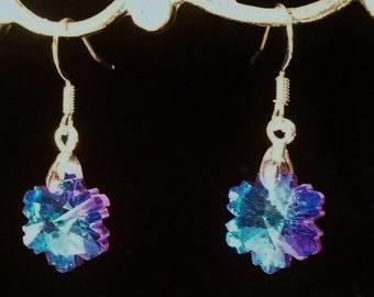 Blue Faceted Glass Flower Earrings