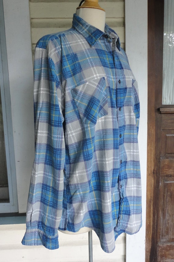 Mens Blue Flannel Shirt