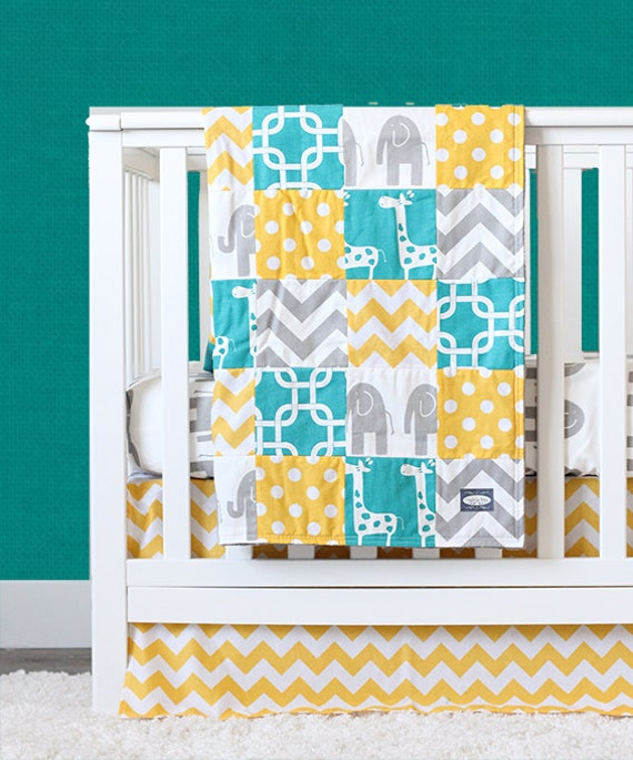 items similar to yellow and turquoise crib bedding gender neutral elephant baby bedding on etsy. Black Bedroom Furniture Sets. Home Design Ideas