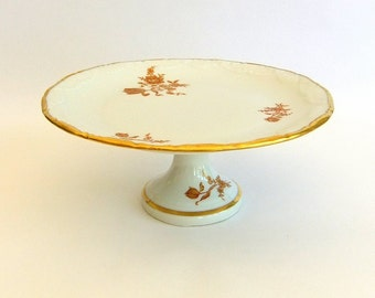 Vintage Limoges France Porcelain, Bone or Fine China Pedestal Plate - Small Cake or Cupcake Stand, Gold n Red, Roses n Tulips, Gilt, White