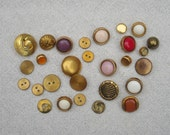 Vintage Buttons, Sewing Supply, Sewing Supplies Destash, Destash Buttons, Brass Buttons, Mixed Lot of Vintage Buttons, Lot 3