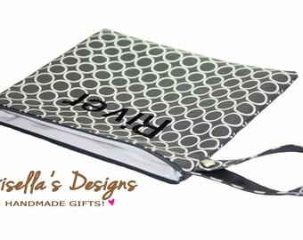 Modern gray Wet Bag,  Personalized Reusable Dirty Bag or Clean Bag, custom made Waterproof Swim Bag,