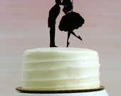 Bride and Groom with Balloon Silhouette Wedding Cake Topper