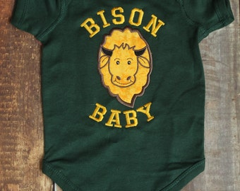 Bison Baby Embroidered Onesie Shirt with optional Tattoo Sleeves