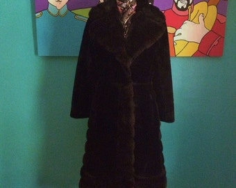 Gorgeous 1970's black plush fake fur coat