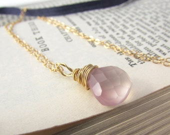 Small Pale Pink Chalcedony Necklace gold wire wrapped pendant