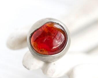 Dragon's Eye - Chunky  Dark Amber Colored Ring - Size 9