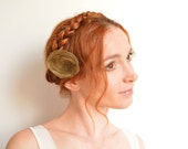 Khaki green organza flower hair clip - peony