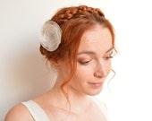 Bridal off white organza flower hair clip - peony