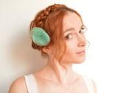 Mint organza flower flower hair pin - peony