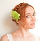 Neon green flower hair clip - organza lotus and Swarovski